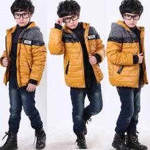 男童外套棉衣冬装 加厚棉袄新款时尚拼接款